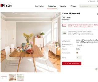 Screenshot Pfister.ch