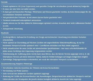 Vorteile Nachteile Adaptive Webdesign