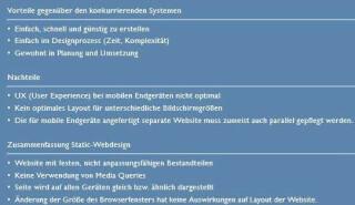 Vorteile Nachteile Static Webdesign