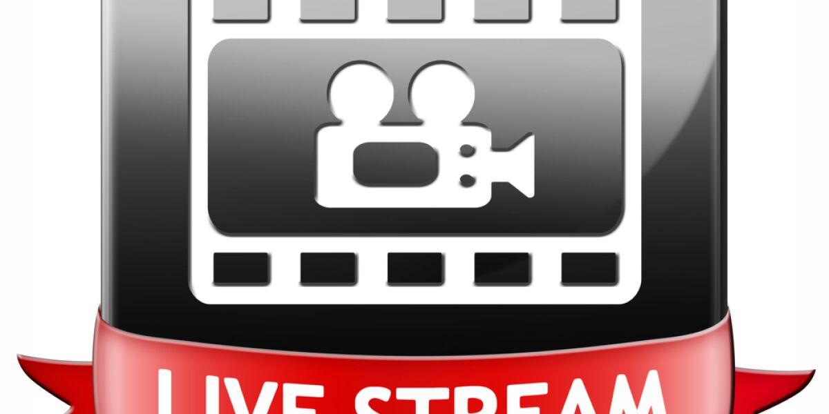 Kamera und rotes Banner auf dem Live Streaming steht