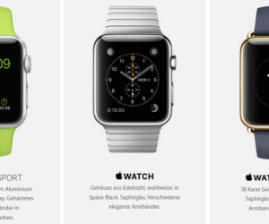 "Die Apple Watch Kollektionen ""Watch Sport"", ""Watch"" und ""Watch Edition""."