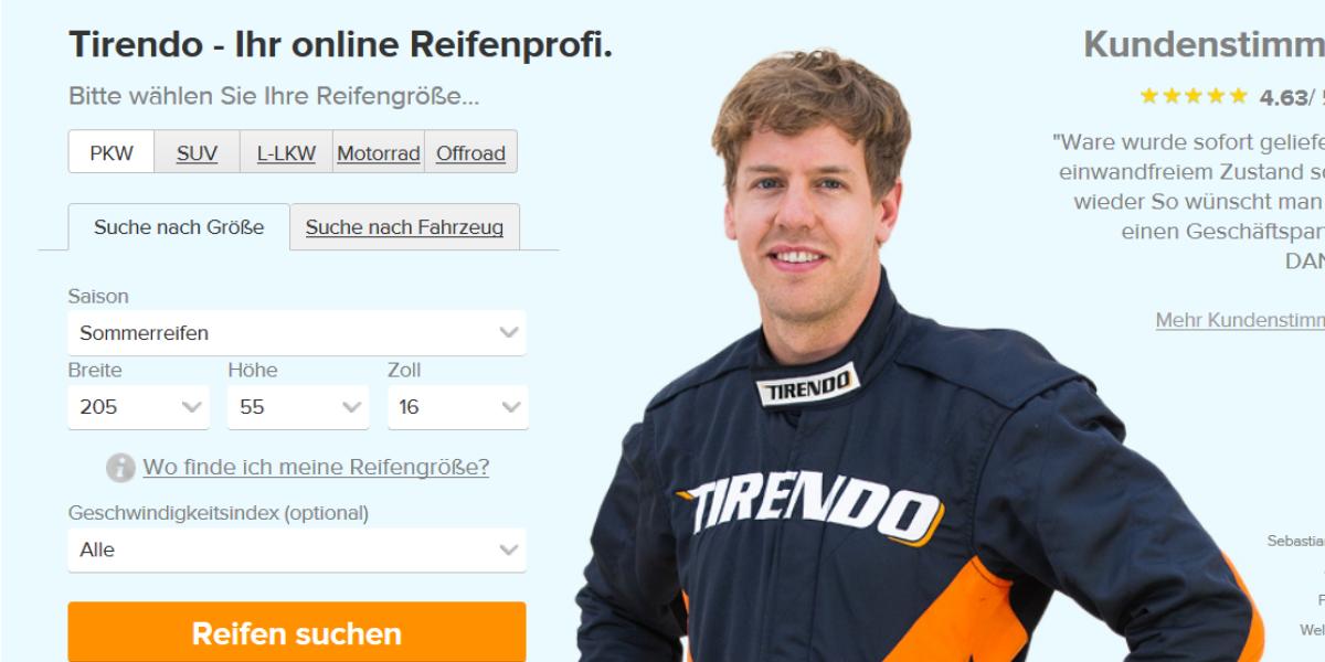 Delticom-Tochter Tirendo mit Testimonial Sebastian Vettel