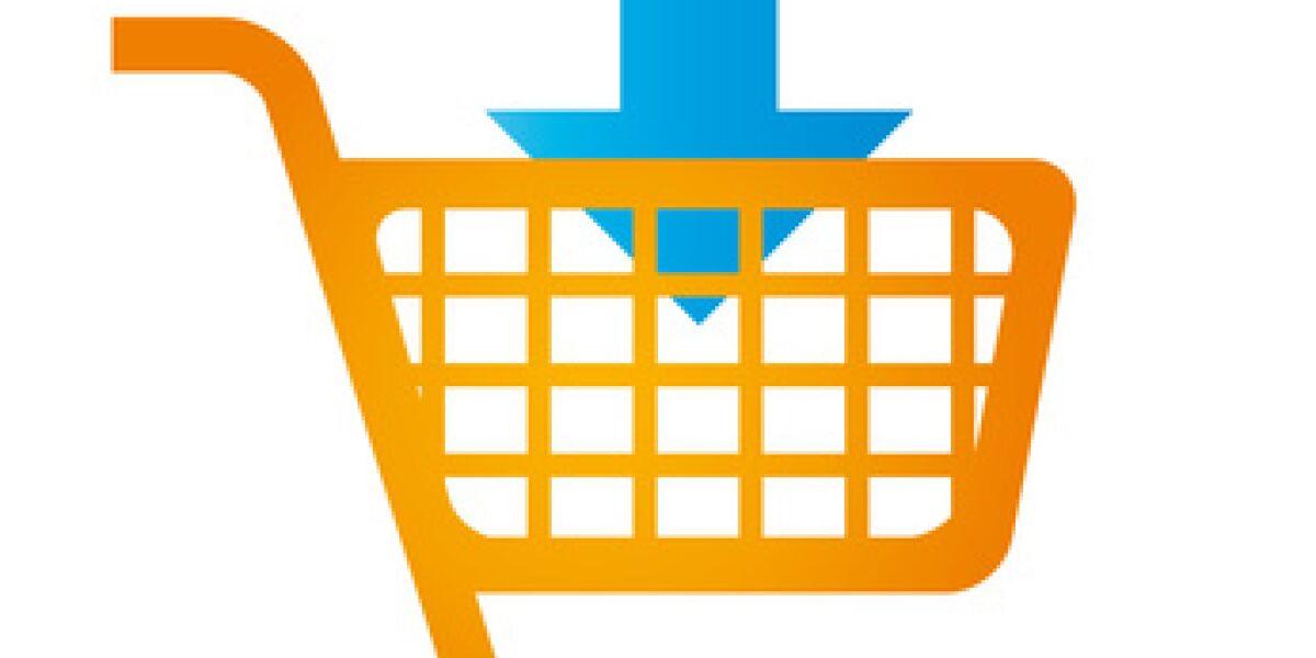 Einkaufswagen mit Pfeil