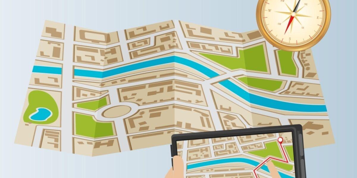 Illustration Lokale Suche Tablet Hände