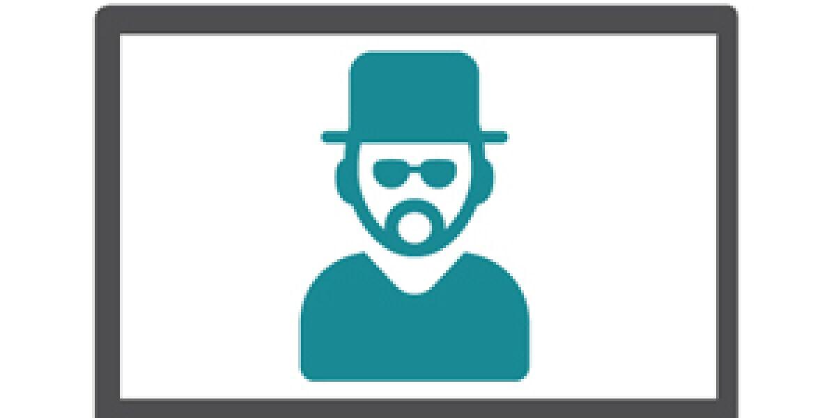 Krimineller mit Sonnenbrille in einem Monitor