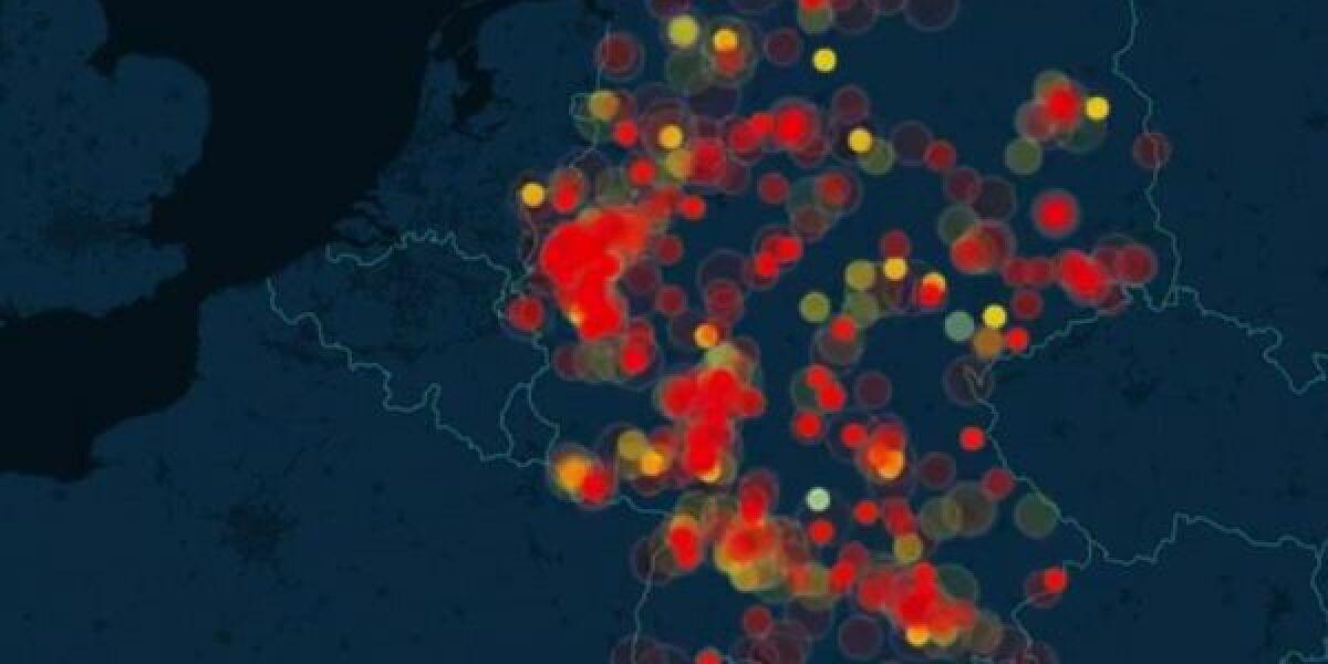 Karte der E-Commerce-Aktivitäten in Deutschland