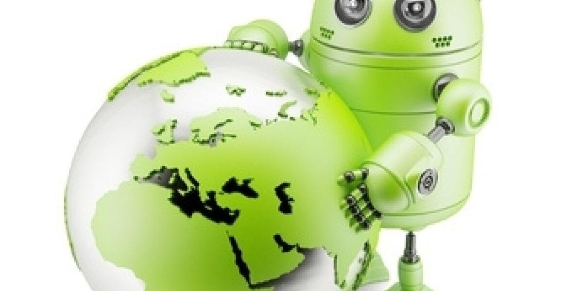 Android-Roboter mit Weltkugel