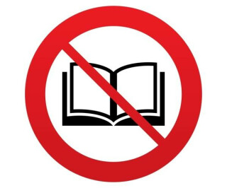 Verbotsschild mit Buch Lesen verboten