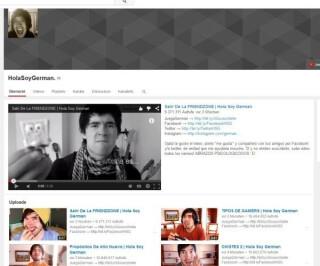 Youtubewebseite von HolaSoyGerman