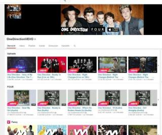 Youtubeseite von OneDirection