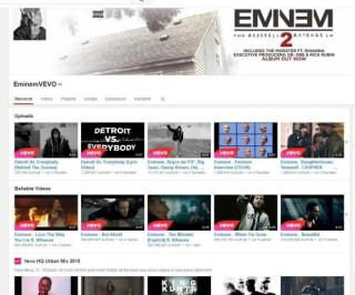 Youtubeseite von Eminem