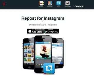 Webseite für das Repost-Tool für Instagram