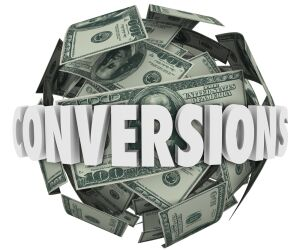 Geldscheine mit Conversion-Schriftzug
