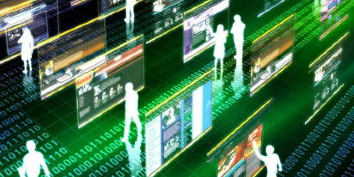 Animation eines Datenflusses mit Menschen und Websites