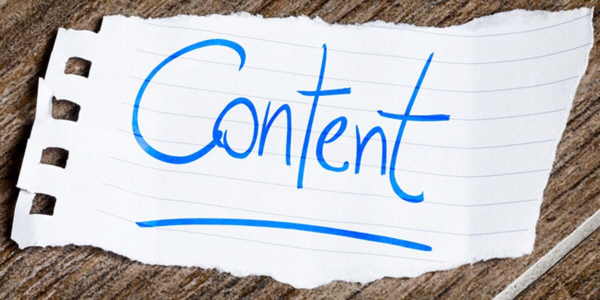 Notizzettel mit Aufschrift Content