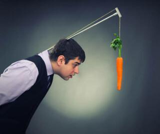 Mann mit Karotte