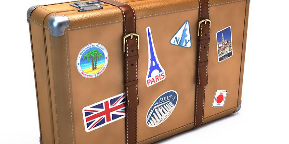 Koffer mit Aufkleber