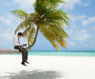 mann mit Tablet sitzt auf Palme