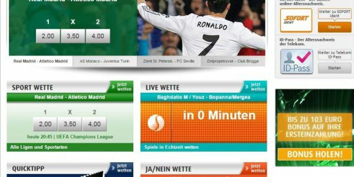 Screenshot der Website des Sportwettenanbieters Tipp3.de