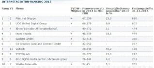 Ranking der Webagenturen vom BVDW aus dem Jahr 2015