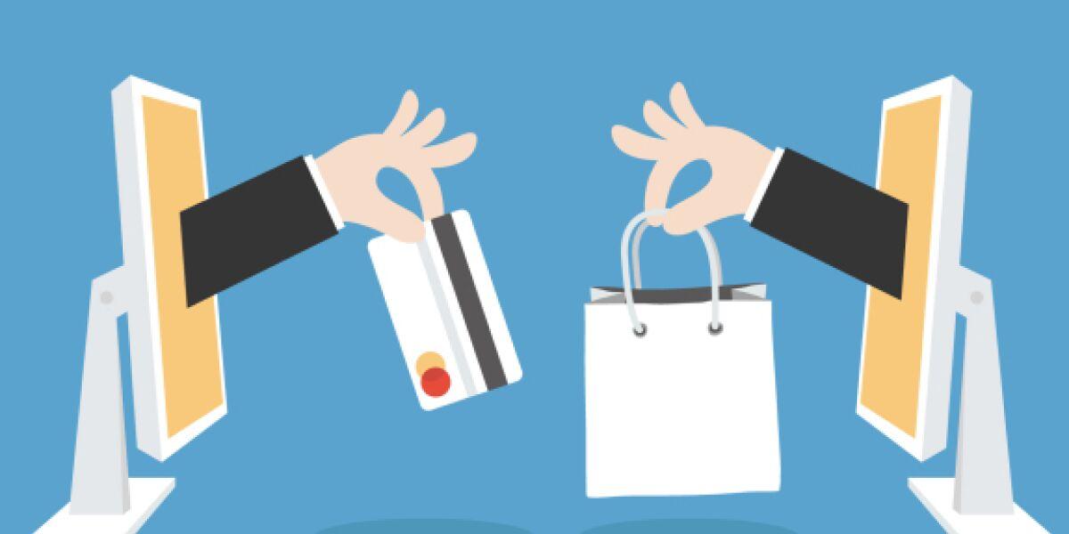 Illustration Webshopping Screens Hände Kreditkarte Einkaufstasche