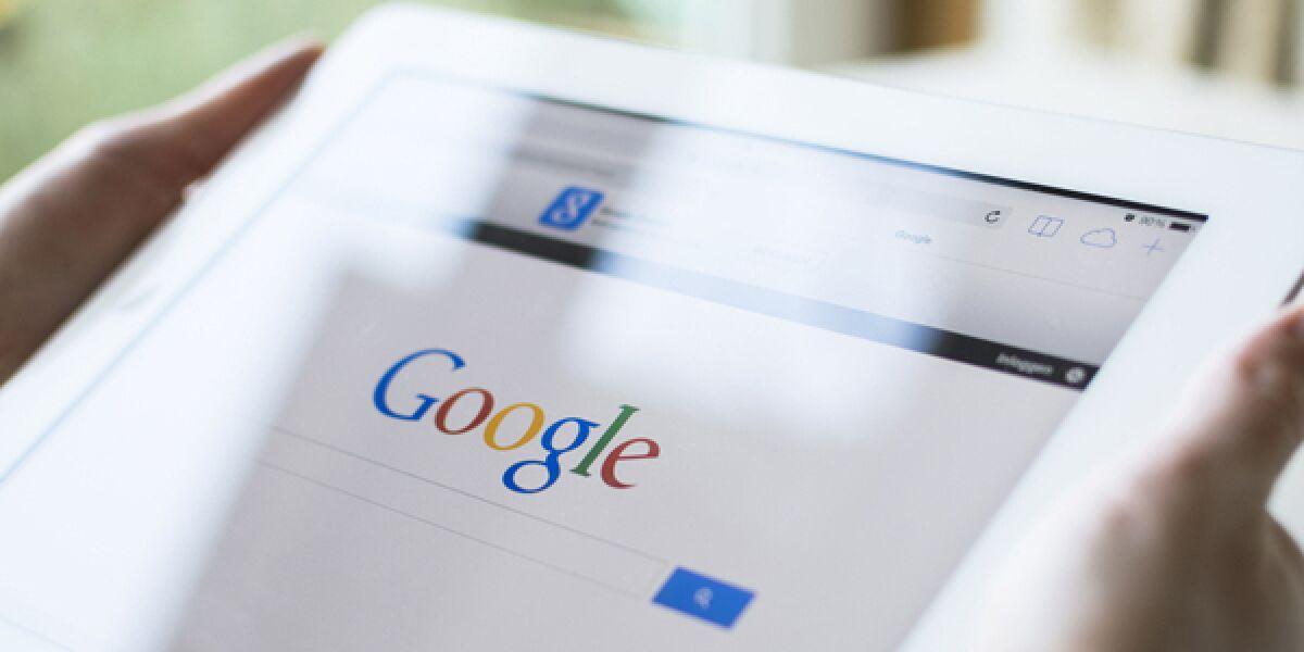 Google Website auf einem Tablet