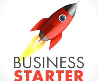 Illustration Business-Starter mit Rakete