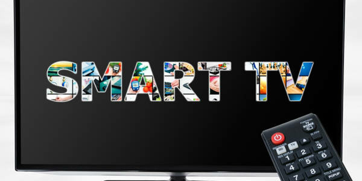 Fernbedinung zeigt auf einen Fernseher mit der Aufschrift: Smart TV