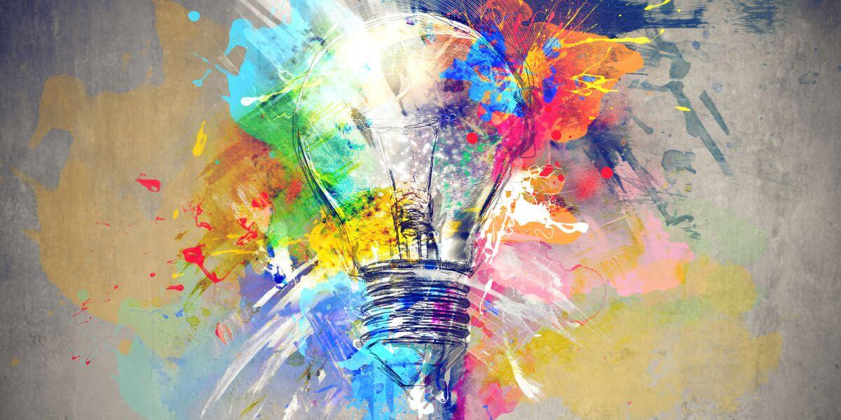 Bunte Farben mit Glühbirne