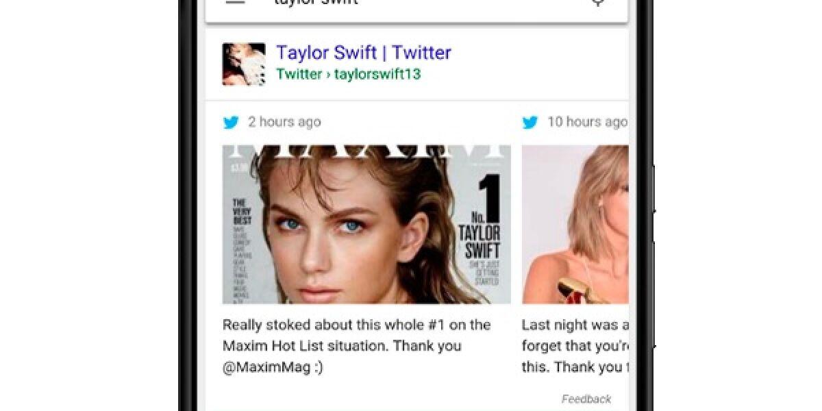 Tweet in der mobilen Google-Suche