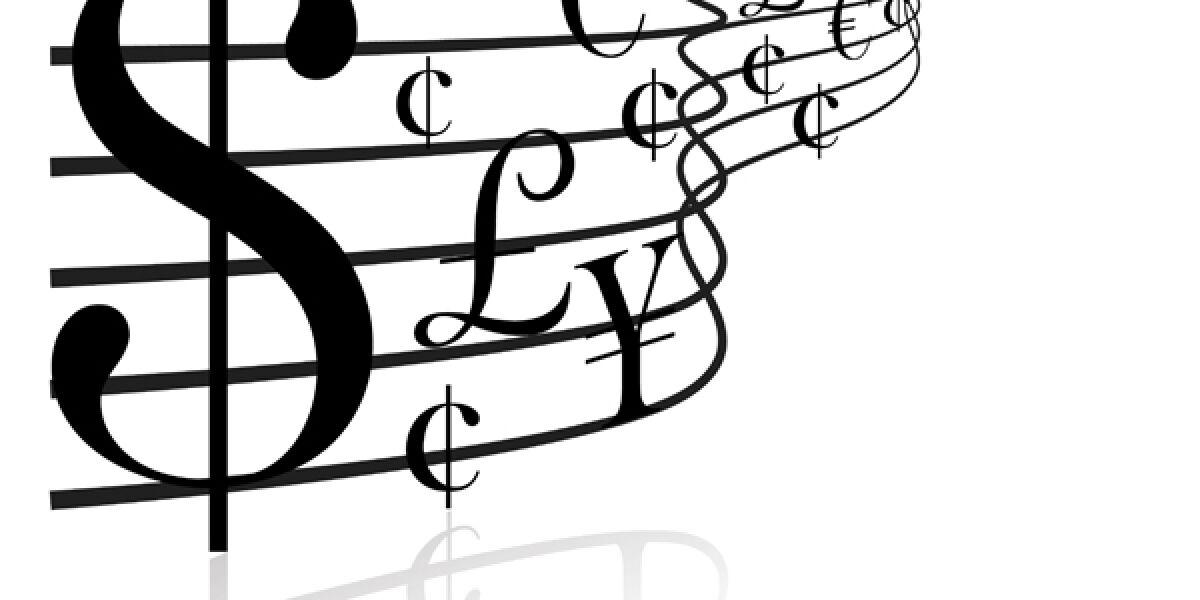 Währungssymbole als Musiknoten