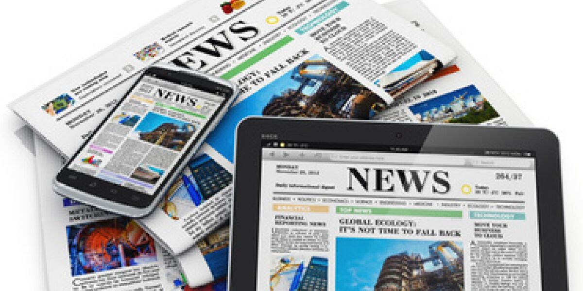 Zeitungen, Smartphone, Tablet