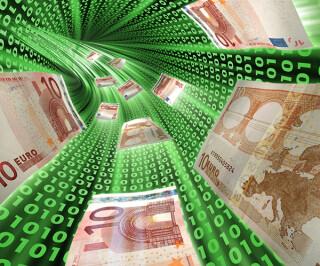 Geldscheine fließen in einer Bahn mit Zahlen