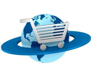 Einkaufswagen kreis um Weltkugel
