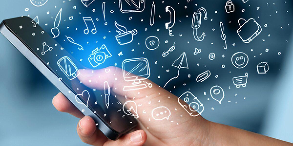 Symbole kommen aus dem Smartphone
