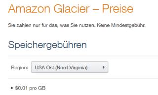 Preise für Amazon Glacier
