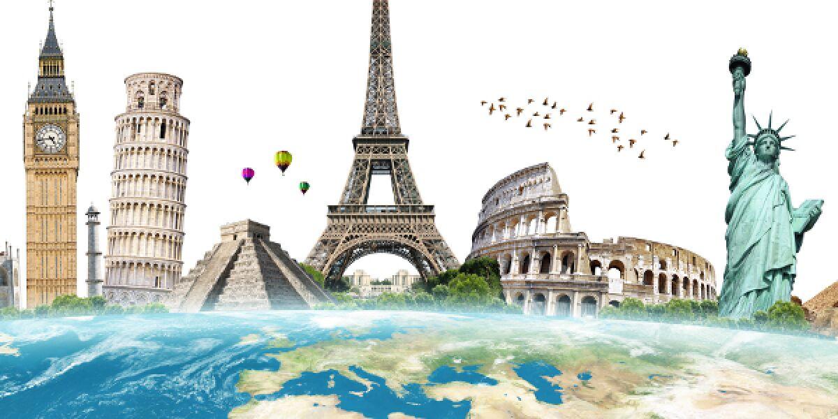 Berühmte Bauten der Geschichte auf einer Weltkarte dargestellt