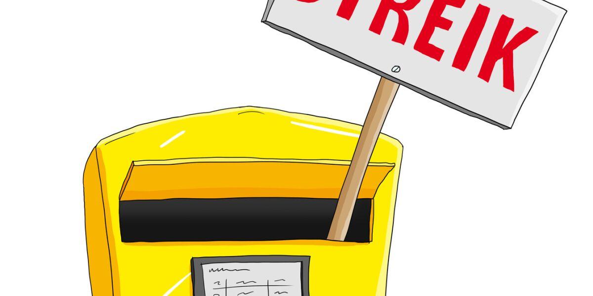 Postkasten mit Streik-Schild