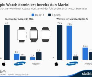 Weltweiter Absatz führender Smartwatch-Hersteller
