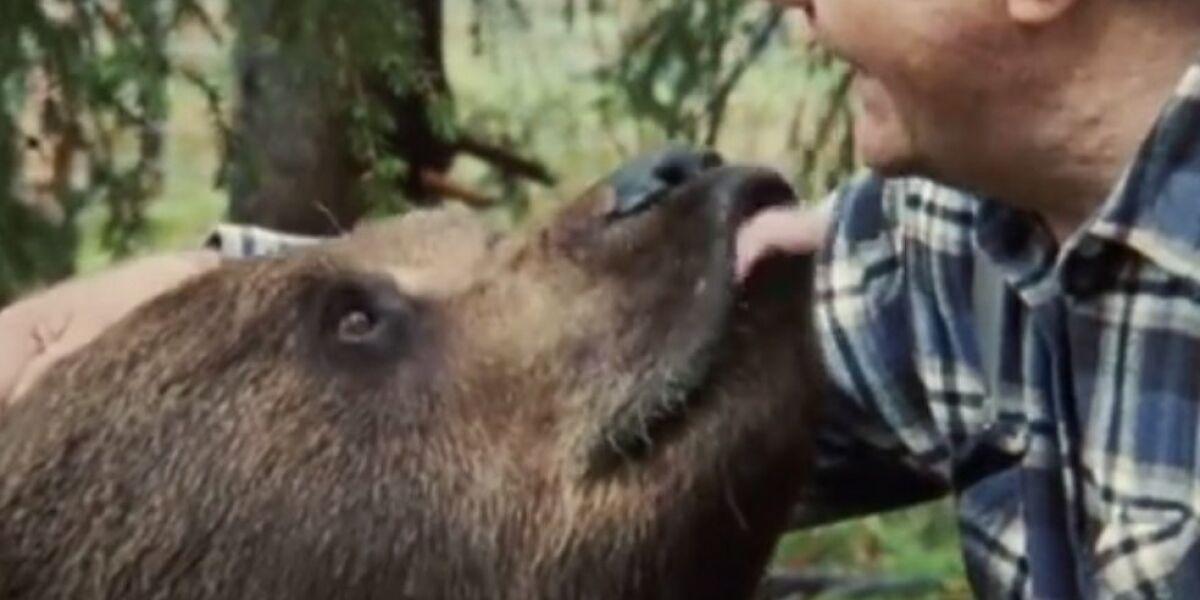 Mann und Bär umarmen sich