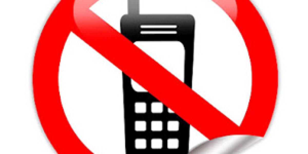 Schild mit durchgestrichenem Smartphone
