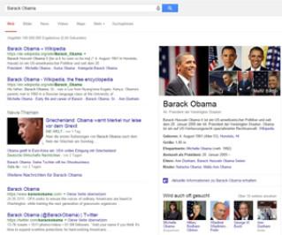Screenshot der Google-Suche nach Barack Obama