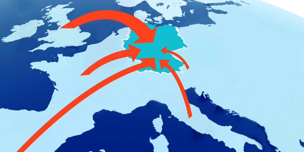 Europakarte mit mehreren Pfeilen auf Deutschland zeigend