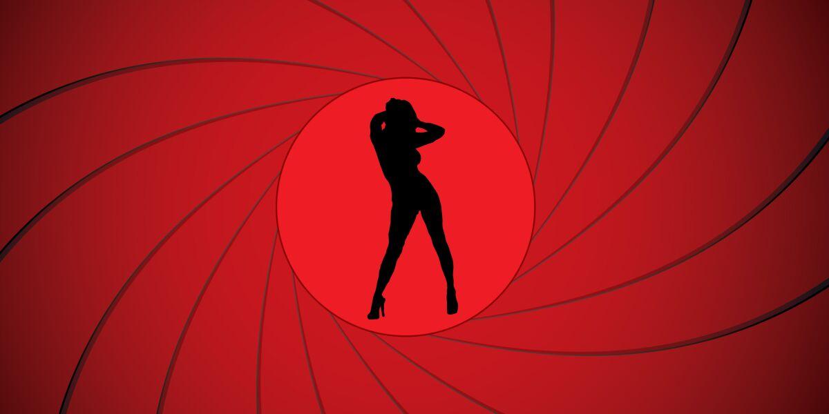 Frau auf rotem James Bond-Hintergrund