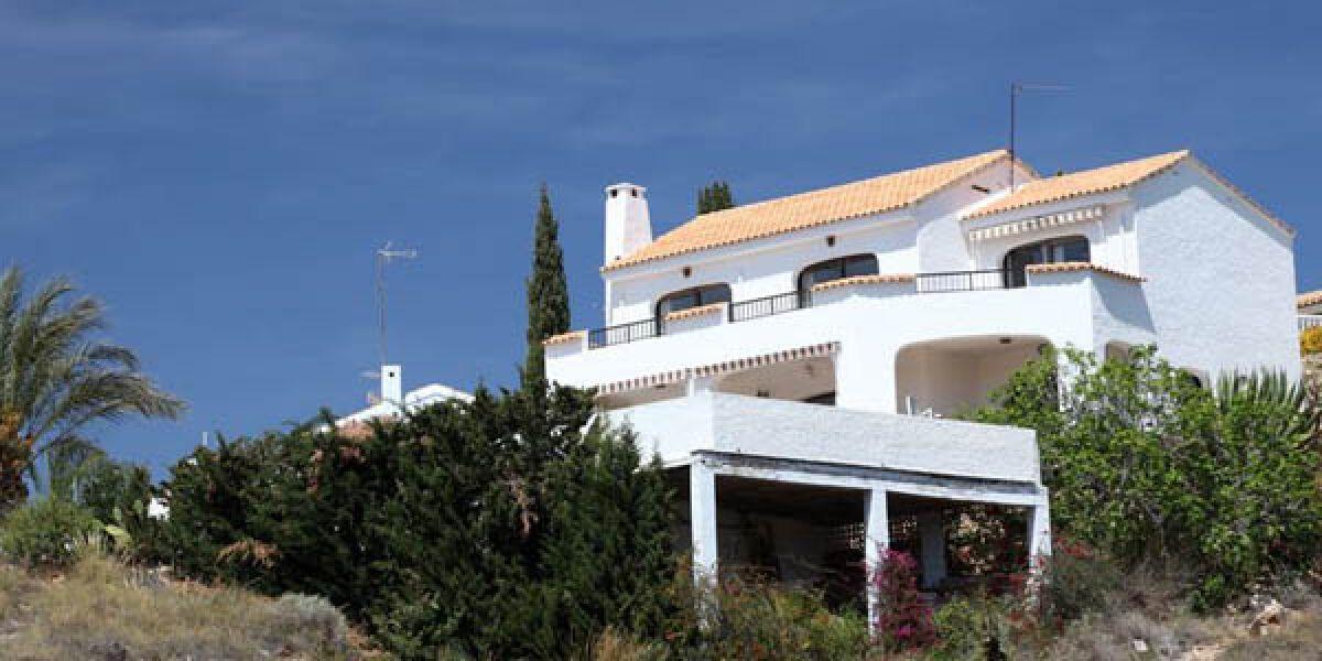Weißes Haus und Palmen