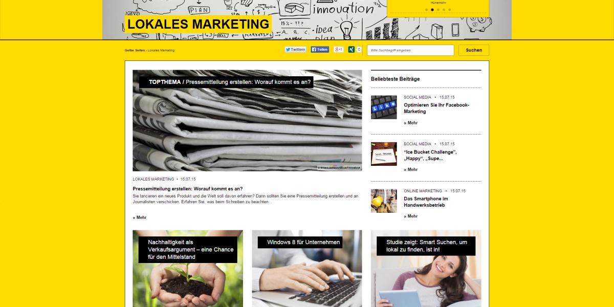 Screenshot Gelbe Seiten
