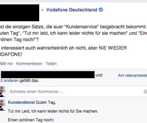 """Vodafone Deutschland: Deutlich besser als bei der Deutschen Telekom funktioniert die Kundenbetreuung bei der Konkurrenz. Der """"Kundendienst"""" auf der Facebook-Seite von Vodafone landet jedenfalls drei Volltreffer und erfüllt damit alle Erwartungen."""