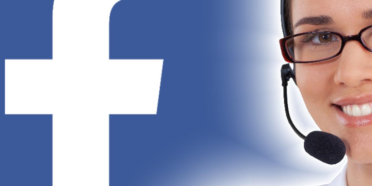 Facebook-Logo und Kundendienst-Mitarbeiterin