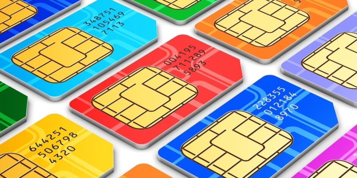 SIM-Karten in verschiedenen Farben