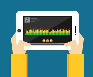Musik- und Media-Player auf einem Tablet